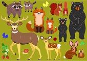 woodland animals parents and babies elements set