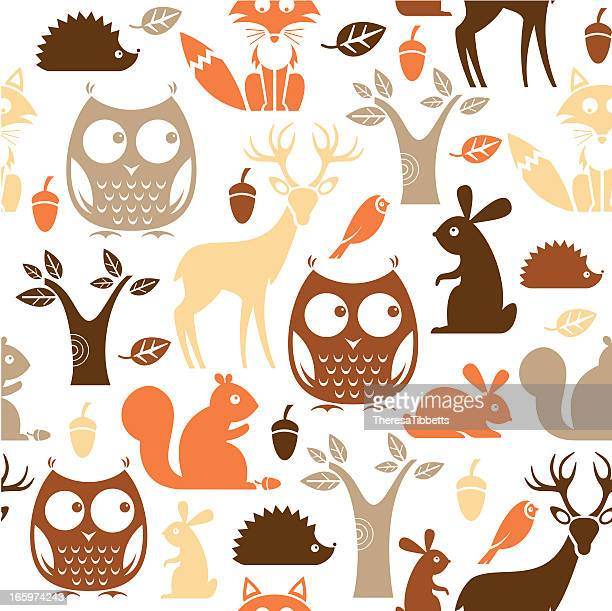 woodland repeat pattern - squirrel stock illustrations