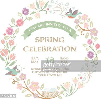 Woodland Spring Wreath Vector Art