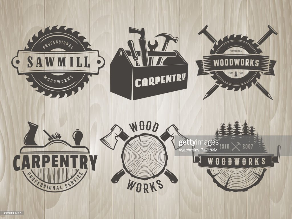 Woodworks and carpentry symbols.