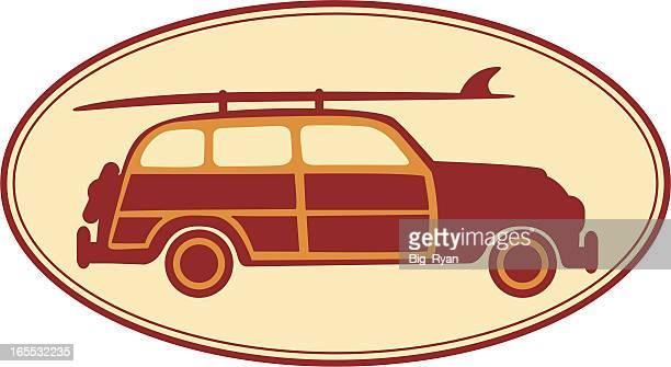 illustrations, cliparts, dessins animés et icônes de woody icône - planche de surf