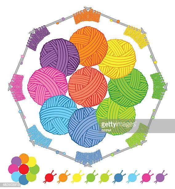 Paleta de colores de lana