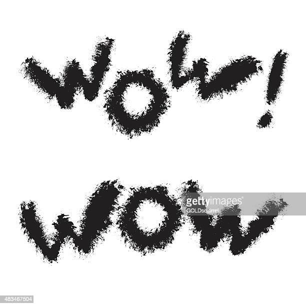 Woolly black letters WOW with rough edges in vector