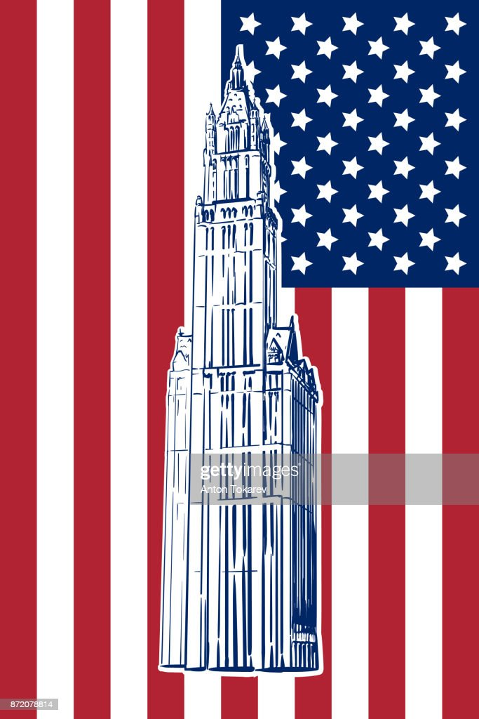 Woolworth building sketch on US flag