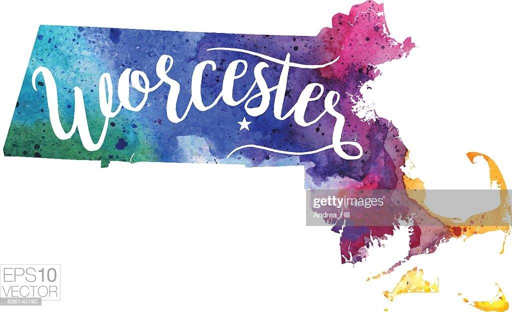 Worcester, Massachusetts Vector Watercolor Map