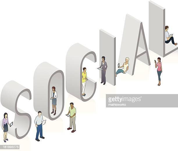 social word art - mathisworks stock illustrations