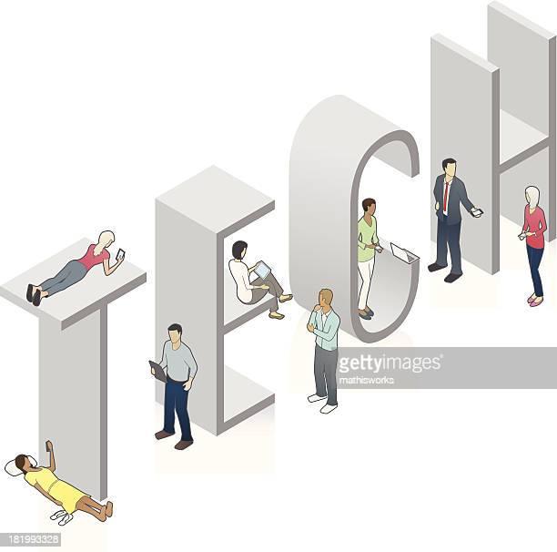 tech word art - mathisworks stock illustrations