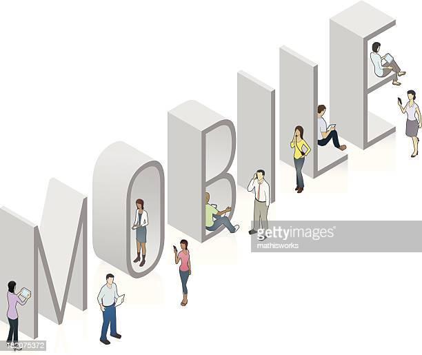 mobile word art - mathisworks stock illustrations