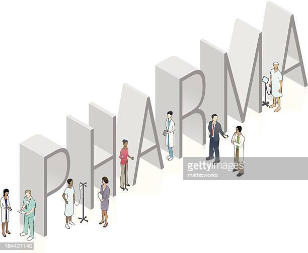 stockillustraties, clipart, cartoons en iconen met pharma word art - mathisworks