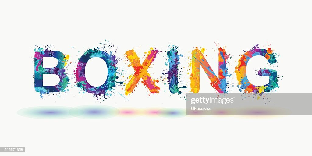 Word BOXING. Rainbow splash paint