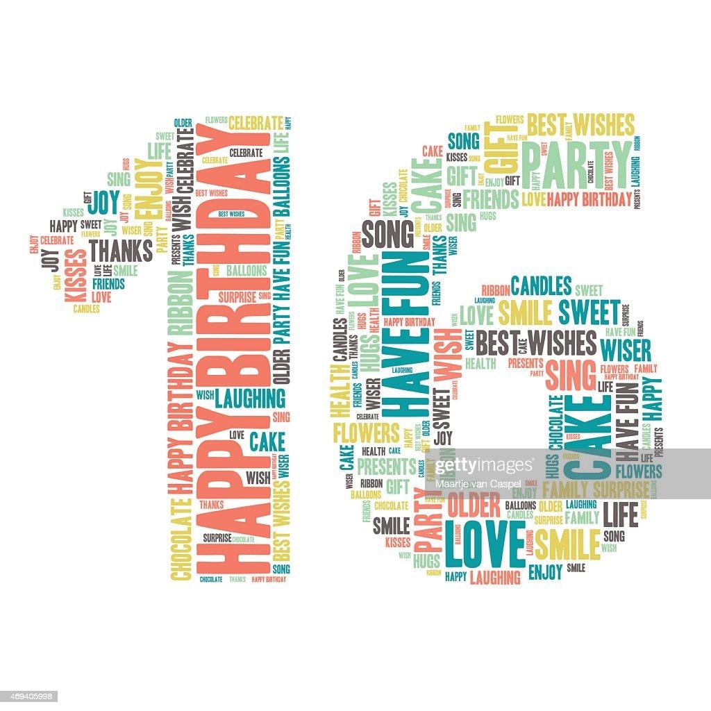 Word Cloud - Happy Birthday Celebration - Sixteen
