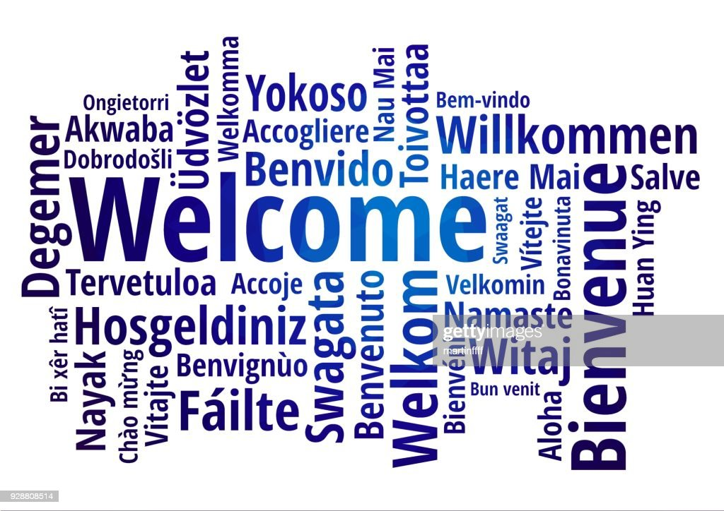 WELCOME word cloud in different languages, concept blue low poly background