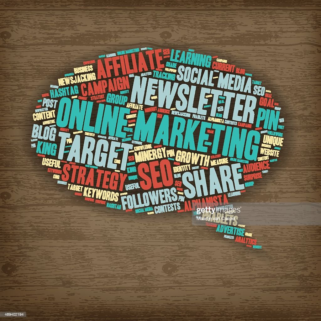 Word Cloud - Online Marketing - Speech Bubble on Wood