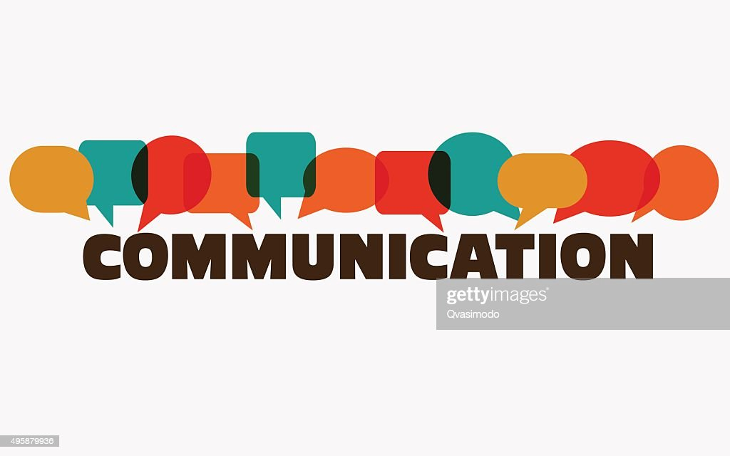 Word 'communication' with colorful dialog speech bubbles. Communication vector concept