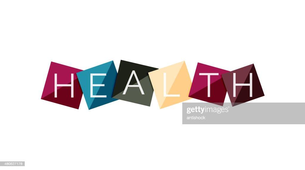 Word concept on color geometric shapes - health : Vektorgrafik