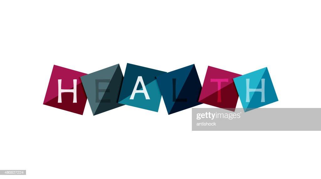 Word concept on color geometric shapes - health : Vectorkunst