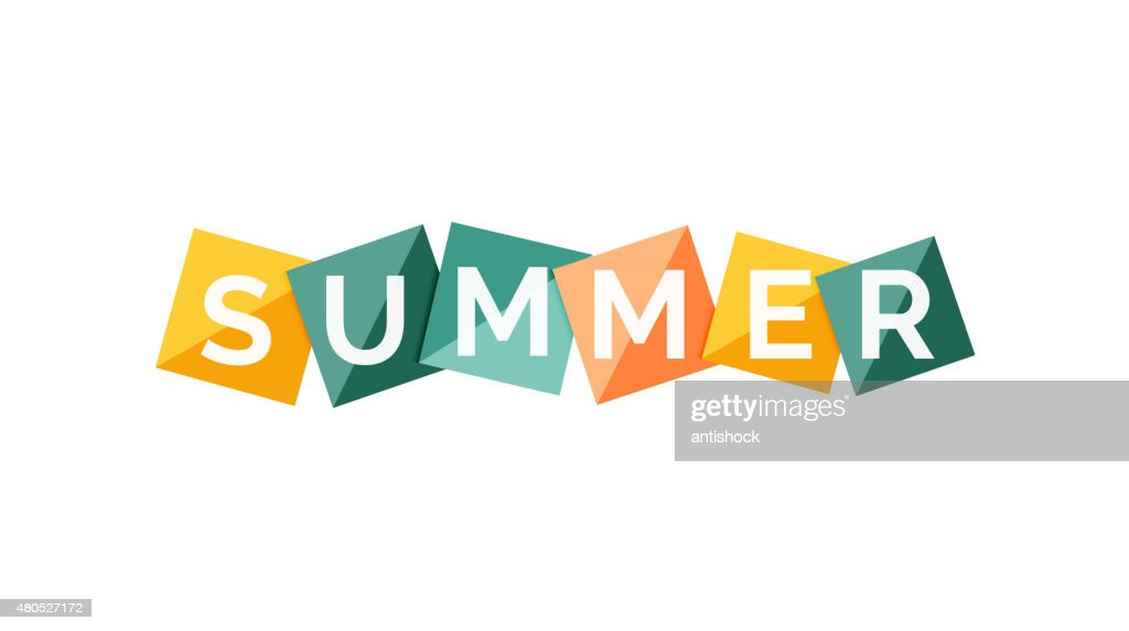 Word concept on color geometric shapes - summer : Vector Art