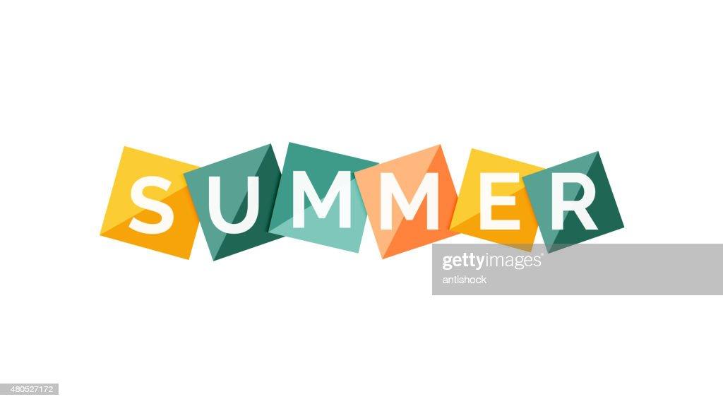 Word concept on color geometric shapes - summer : Vectorkunst