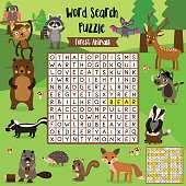 Word search puzzle Forest animals.