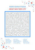 Word search puzzle. Vector game about NEW YORK CITY. Worksheet for adults, teenagers and children. Colorful printable version. Famous city of the United States of America. Advanced level of complexity
