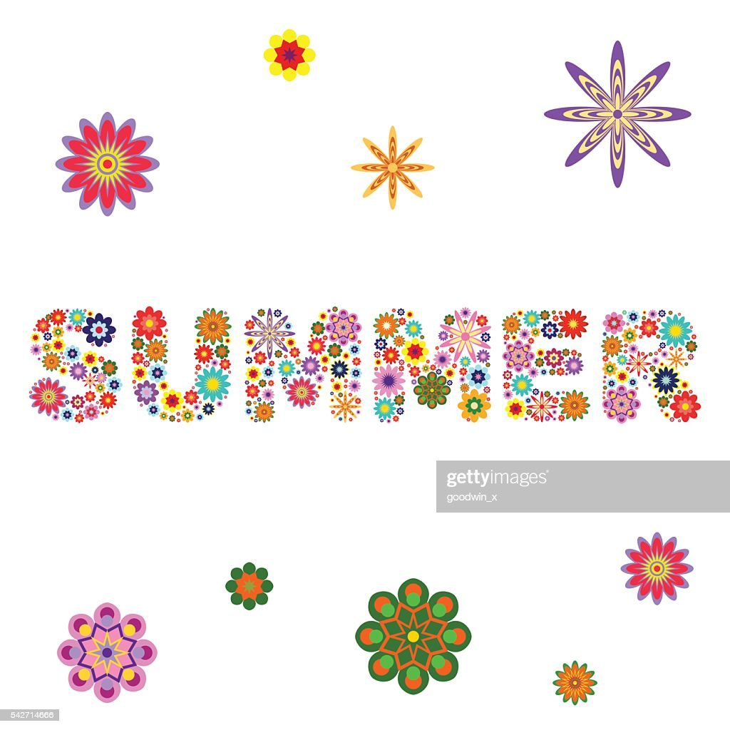 word SUMMER composed of vector flowers on a white square
