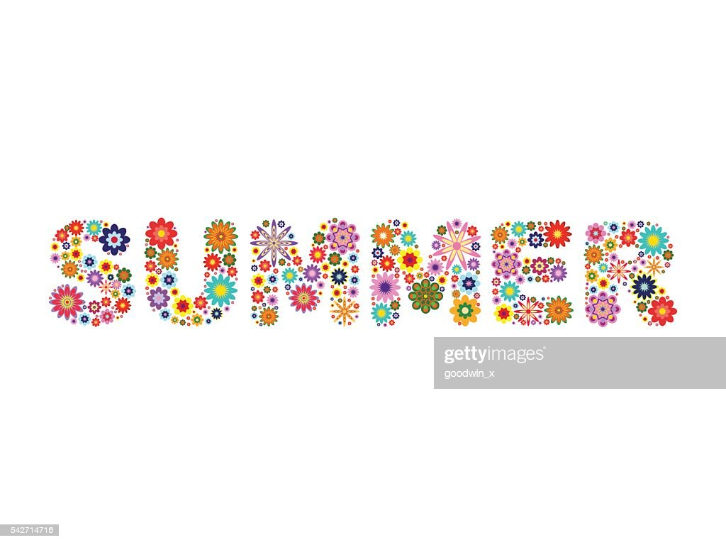 word SUMMER composed of vector flowers on a white