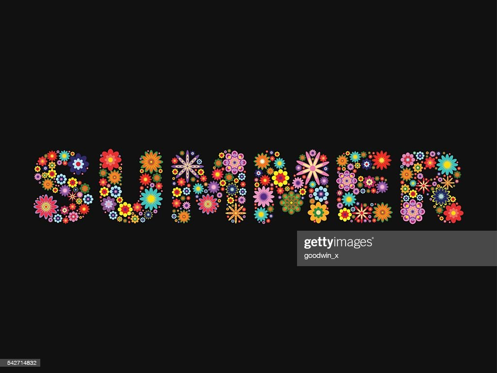 word SUMMER composed of vector flowers on black