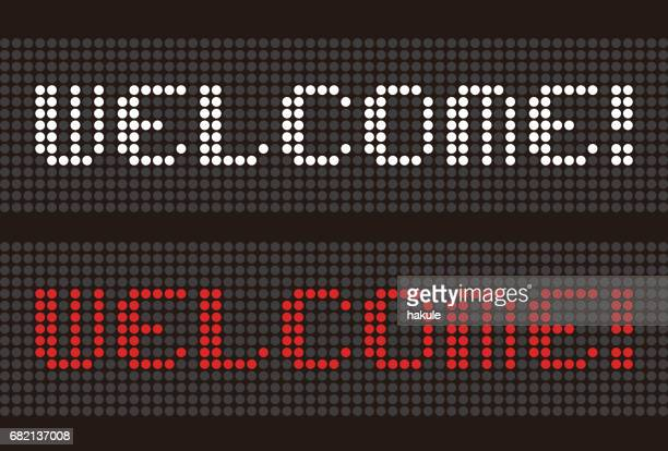 "Word ""WELCOME"" led uppercase English alphabet,  vector illustration"