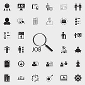 word work and magnifiericon. HR & Heat hunting icons universal set for web and mobile