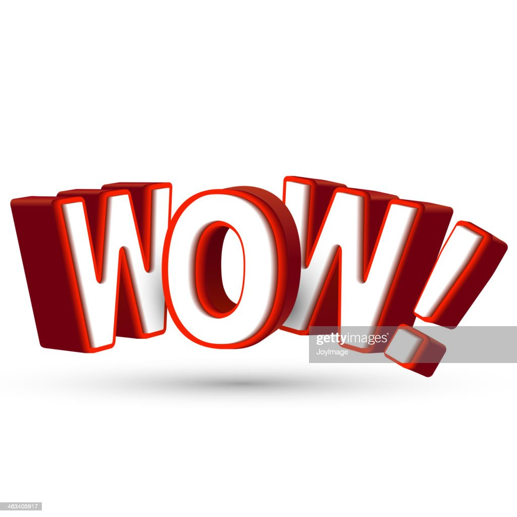 word Wow in big red 3D letters