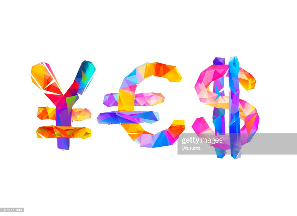 Word Yes Of Currency Symbols Yen Euro Dollar Vector Art Getty Images
