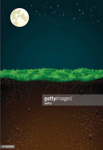 wordly contrast (night) - grave stock illustrations, clip art, cartoons, & icons