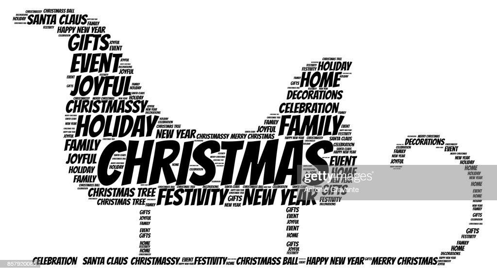 Weihnachten Wörter.Wörter Wolke Weihnachten Konzept Schlitten Form Vektorgrafik Getty