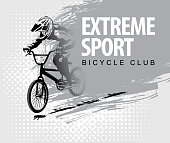 words Extreme sport and a cyclist on the bike
