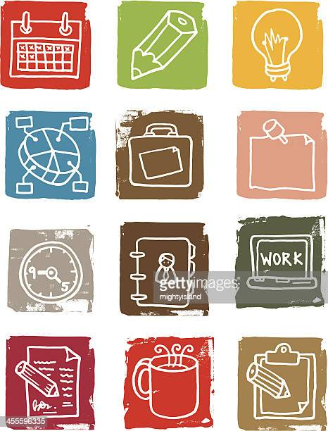 Work and office grunge block icons
