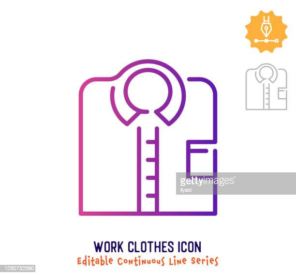 work clothes continuous line editable stroke line - retail employee stock illustrations