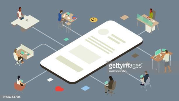 illustrations, cliparts, dessins animés et icônes de illustration d'application de collaboration de travail - gafam