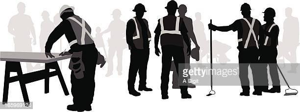 Work Crew Vector Silhouette