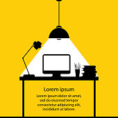 Work Desk, Flat Design Objects,black workplace isolated on yellow background,