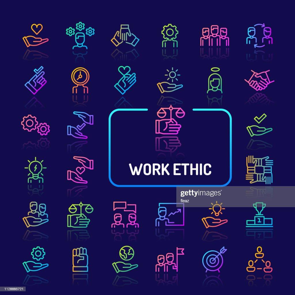 Work Ethics Gradient Line Icon Set (EPS 10)