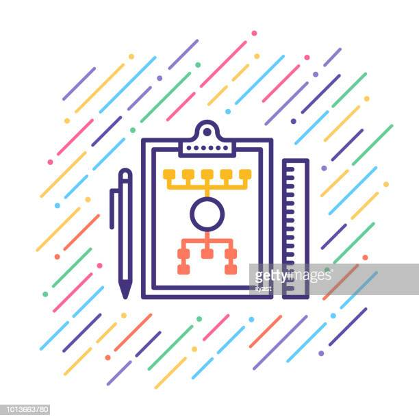 work flow line icon - fund manager stock illustrations, clip art, cartoons, & icons