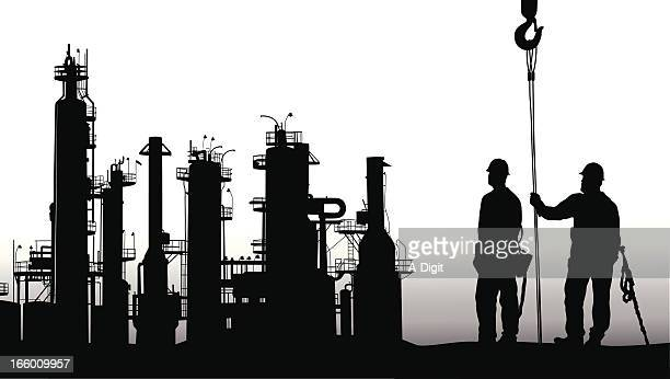 work for all - petrochemical plant stock illustrations, clip art, cartoons, & icons