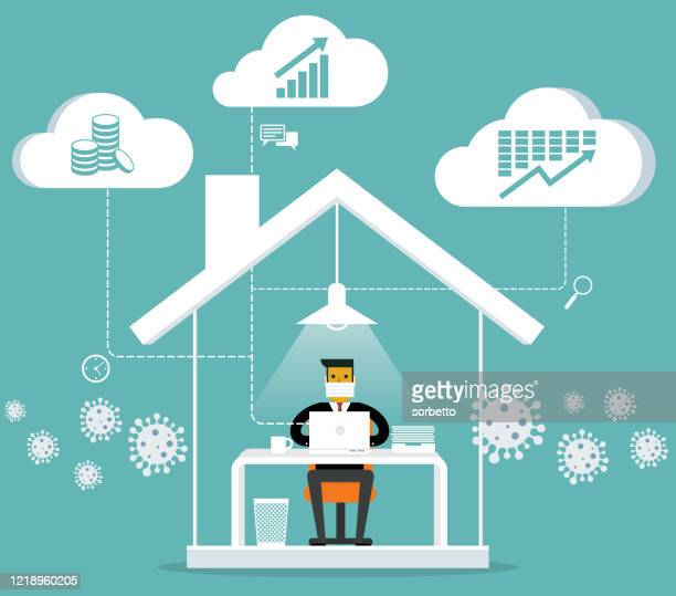 illustrations, cliparts, dessins animés et icônes de travail de l'homme d'affaires à domicile - travailleur indépendant