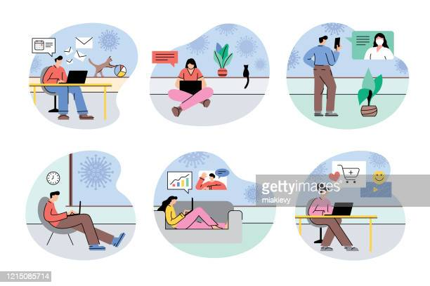 illustrazioni stock, clip art, cartoni animati e icone di tendenza di work from home during coronavirus quarantine - collezione