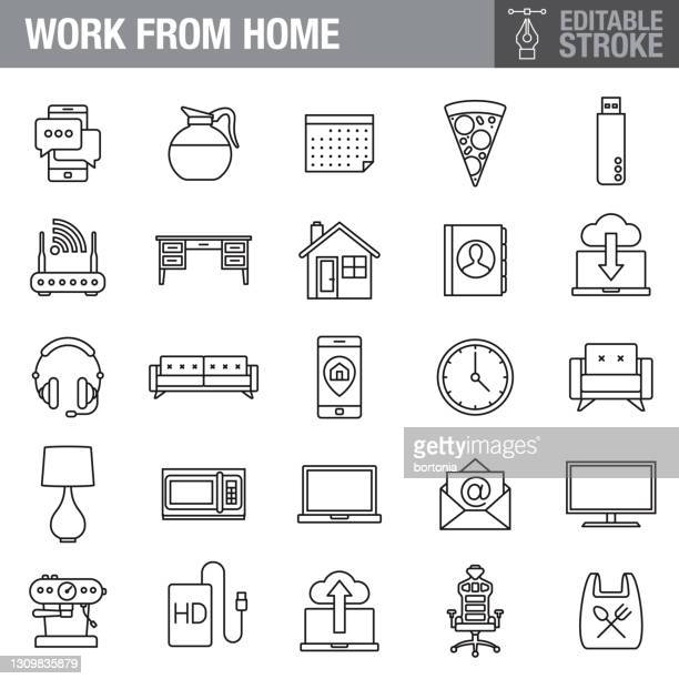 work from home editable stroke icon set - hard drive stock illustrations