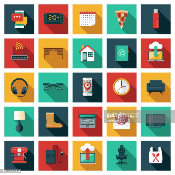 work from home icon set - computer part stock illustrations