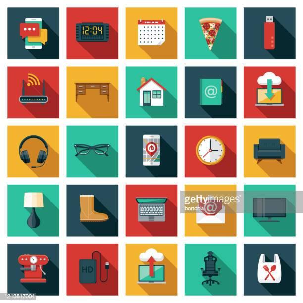 arbeit von zu hause icon set - flat design stock-grafiken, -clipart, -cartoons und -symbole
