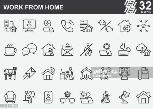 work from home line icons - convenience stock illustrations