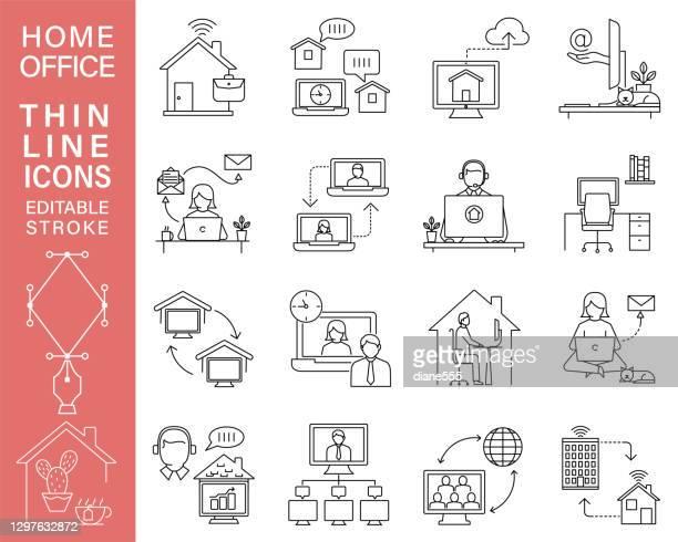 illustrations, cliparts, dessins animés et icônes de travailler à partir d'icônes home line avec stroke modifiable - confinement clip art