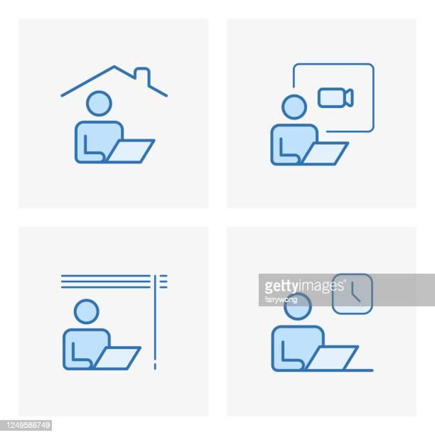 arbeiten sie von derheimatlinie symbole, bleiben sie zu hause symbole - arbeiten von zuhause stock-grafiken, -clipart, -cartoons und -symbole